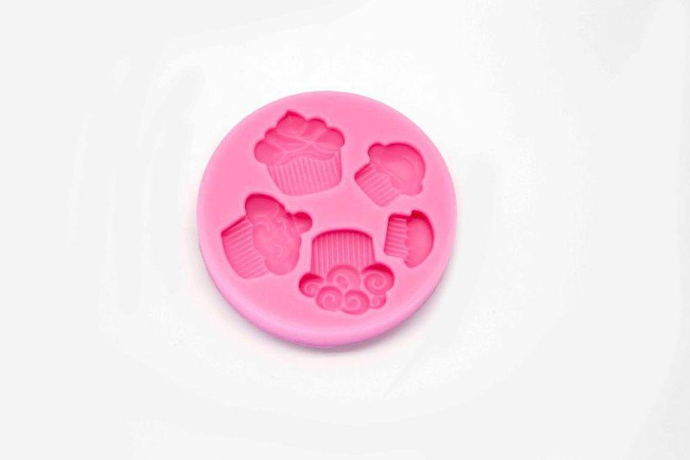 Molde de silicona con 5 cavidades con forma de cupcakes gaudir - Moldes cupcakes silicona ...